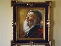 Beautiful HUGE oil painting with ornate wood frame/  Belle pein
