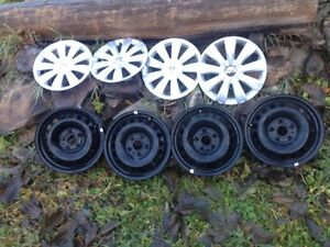 Volkswagen OEM 5x112 steel wheels and hubcaps