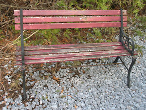 CAST IRON PARK PATIO BENCH WITH WOOD SLATS PROJECT