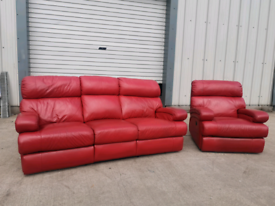 Real Red leather 3+1 seater recliner sofas couches suite 🚚🚚