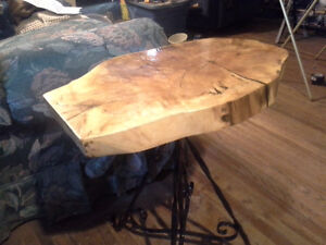 Spalted Maple Live Edge & Wrought Steel End Table