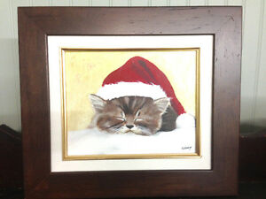 Cat (Santa hat) Oil painting