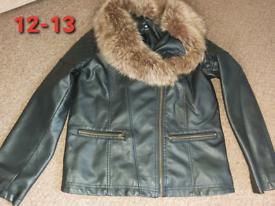 Girls leather coat 12-13 years fur neck stunning black