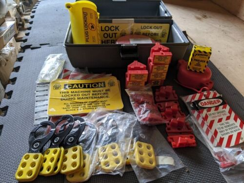 Lockout / Tagout Safety Kit Electrical Safety Toolbox Set Yellow Red Padlocks
