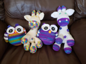 Hand made stuffed animals and baby blankets