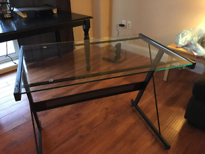 "Large Metal and Tempered Glass ""L"" shape desk"