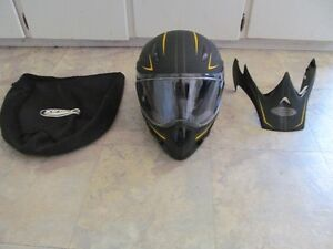 Gmax Black and yellow helmet with shield and vizor storage bag
