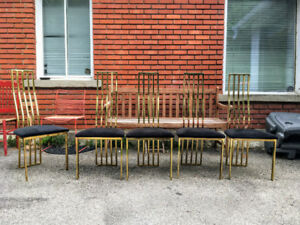 5 Chaises Vintage Designer Brass Dining Chairs Willy Rizzo Style