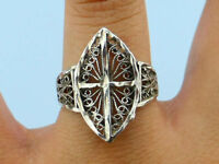 Vtg Detailed Scroll Cross Contrasting .925 Silver Ring, Sz 8 3/4