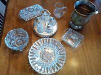 DEPRESSION CUT GLASS AND SILVER ACCESSORY DISHWARE FOR SALE