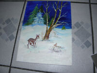 Deer and Rabbit oil painting