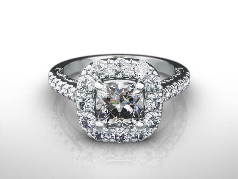 Estate Diamond Halo Ring 14k White Gold Filigreed Vs1 Accented Flawless 2 Ct