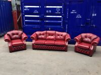Stunning genuine antique leather original chesterfield 3 piece suite sofa chair oxblood