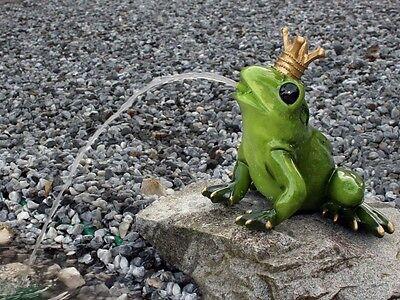 XL großer Froschkönig Wasserspeier, wetterfeste Dekofigur Garten Teich Brunnen