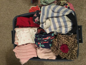 1 1/2 bins of 3, 6 and 9 month girls clothing