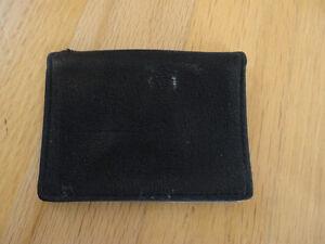 Black leather card holder wallet - unisex