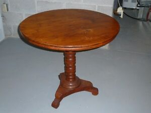 Pine Table with cherry pedestal and three chairs