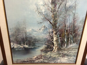 Beautiful Oil On Canvas Early Winter Scene London Ontario image 2