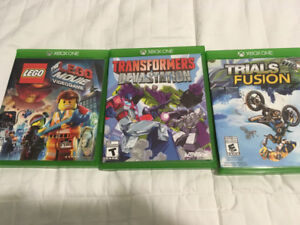 XBox One Games - The LEGO Movie, Trials Fusion and Transformers