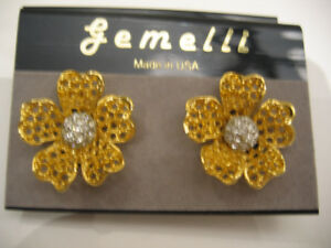GEMELLI GOLDTONE FLOWER CLIP EARRINGS