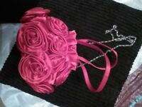 Ladies red rose silk bag with silver chain (NEW).