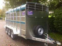 Cattle trailer livestock trailer tuffmac tri axle 14x6 cattle trailer