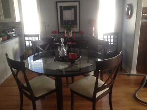 """54"""" diameter round glass DR table with four chairs"""
