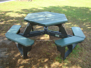 used hex picnic table recycled plastic