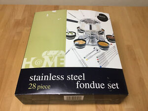 Stainless Steel Fondue Set - 28 Piece Set Lazy Susan Fondue Set