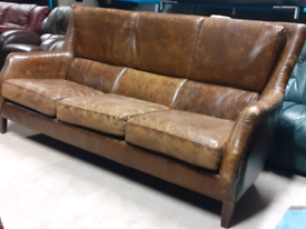 Halo Living Rustic Style Leather 4 Seater Sofa 🤩excellent condition