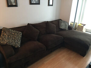 Chocolate Brown Sectional with chaise lounger