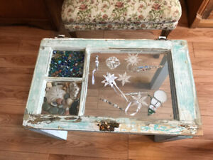 Coffee/side table- home made from a window frame- beveled glass