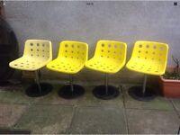 4 x Vintage Retro Swivel Yellow Chairs Mid Century