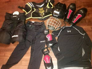 Youth hockey gear.