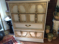 Tall Boy Wood Dresser, 4 Drawers – Antique Finished