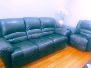 Leather couch and chair (reclining)