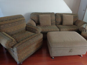 Custom-Made Sofa, 2 Armchairs & Ottoman Set:  Will Deliver!