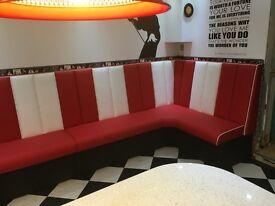 Retro Furniture 50s American Diner Corner Booths - Restaurant Bar Cafe, Kitchen, or Home