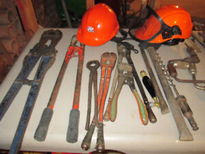 Variety of Odd Hand Tools and Safety Helmets