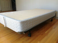 Single bed / Box spring foundation and rollers