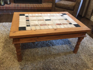 Hand Crafted Stone & Wood Coffee Table