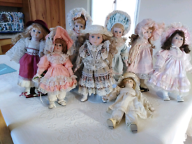 Collection of porcelain face dolls