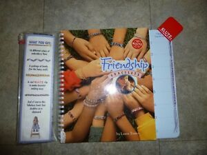 Friendship bracelet book, hardcover, with floss, beads. New!