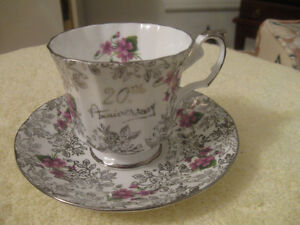 "VINTAGE ""ELIZABETHAN ""20th ANNIVERSARY"" BONE CHINA CUP & SAUCER"