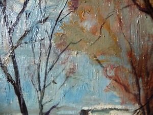 """Original Oil Painting, H. Oswald Stacey  OCA """"January Thaw"""" 1945 Stratford Kitchener Area image 9"""