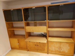 3pc Wall Unit Solid Wood