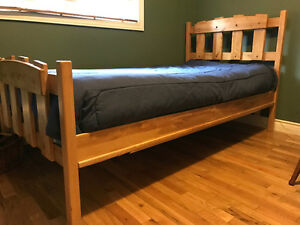 Maple Wood Bedroom Set - Twin Bed and Two Dressers