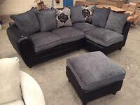 Brand new 2 tone grey / black corner sofa with matching footstool