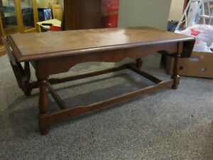 Solid Hardwood Drop Leaf Coffee Table For Sale