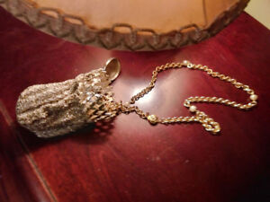 """Authentic Chanel 35"""" pearl gold necklace with 1920s Silver Purse"""